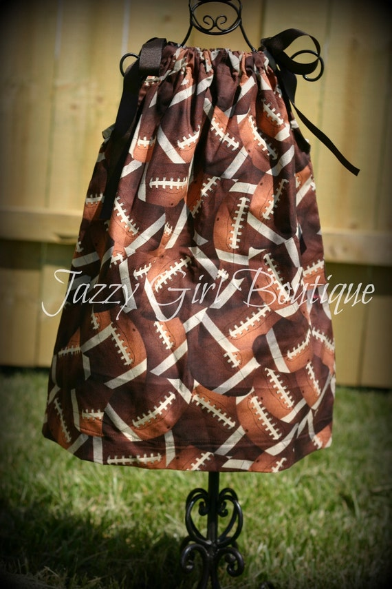 Girls Sport Pillowcase Dress in The Football Fabric with Brown Ribbon Ties Sz 6mo, 12mo, 18mo, 2T, 3T, 4T, 5 Sz 6, 7, 8 Three Dollars More