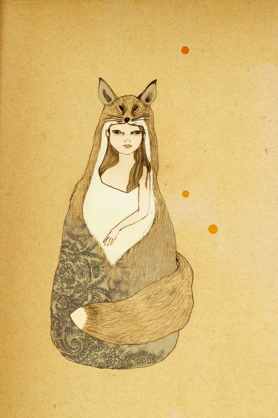 Foxy Girl Deluxe Edition Print of original drawing
