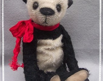 "Artist Bear Immediate Download Sweet 12"" Well Loved Primitive Style Panda Named Sudko PDF PATTERN By Kim Endlich"