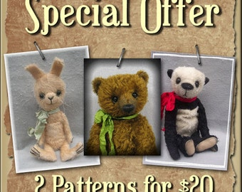 SPECIAL OFFER Two PDF Teddy Bear Patterns of Your Choice By Kim Endlich
