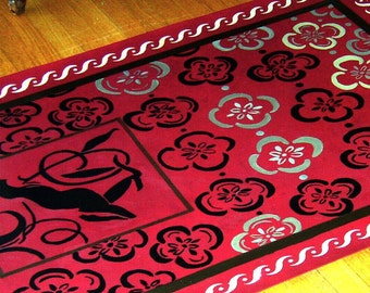 floorcloth floor cloth mat runner persian rug red home decor rug custom orders art for the floor