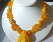 Yellow Glass Sunshine Necklace, OOAK,Chunky Yellow and Orange Bead Necklace, Op Art Blown Glass Center Pendant, by Rachelle Starr