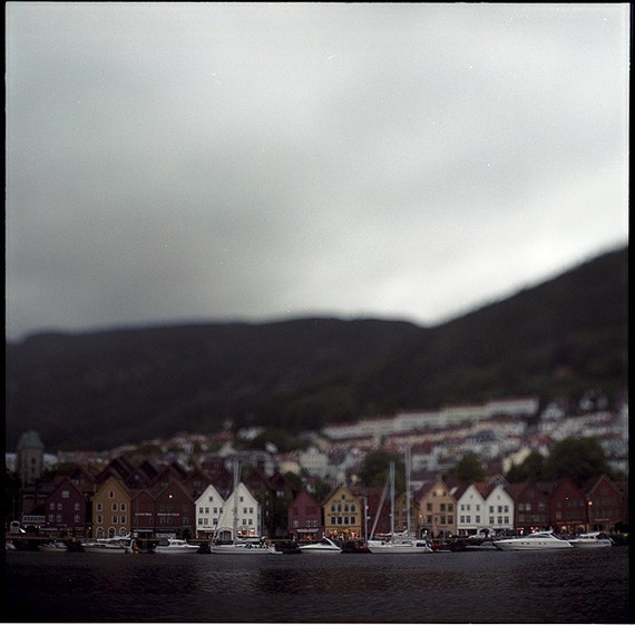 Bergen, Old town, Norway, Scandinavia, Photography Print, Limited Edition, Film, Analog, Square Format, Large scale Art, Rain, Sundown, Dusk