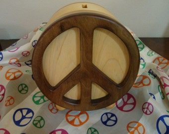 Peace Bank Handmade from Reclaimed Walnut Maple and Pine Gifts Under 40 Dollars