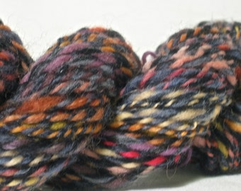 Handspun Yarn - Bulky Weight - 68 yards of Blue and Fruit