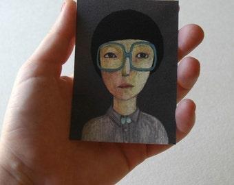 9 tiny pastels portraits, card set, wall decor,wall art,digital art prints,home decor