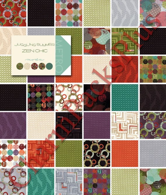 JUGGLING SUMMER by Zen Chic - Moda Fabric Charm Pack - Five Inch Quilt Squares Modern Quilting Material