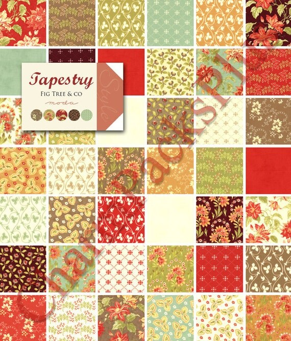 TAPESTRY by Fig Tree and Co - Moda Fabric Charm Pack - Five Inch Quilt Squares Quilting Material