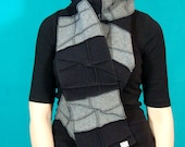 Black and Gray Recycled Fleece Scarf, vegan, black thread details, made by Xmittens