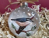 Personalize - Red Breasted Nuthatch Glass Ornament - Hand Painted