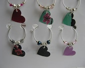 Recycled 2 Party -Colorful Heart Wine Charms -Set of 6