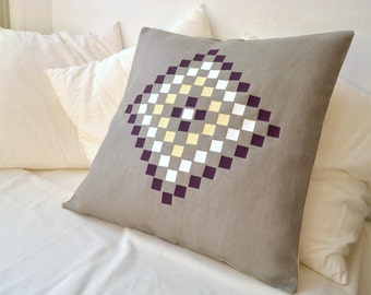 Grey linen cushion cover inspired by Mosaics