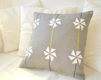Gray linen pillow cover Inspired by Kites