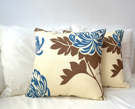 ON SALE Big blue flower pillow covers set of 2