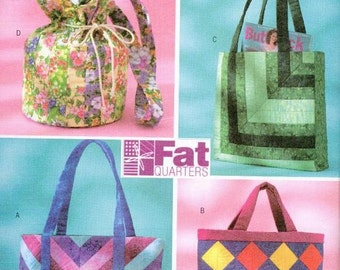 Purses Bags Purse handbag Sewing Pattern Butterick 4248 OOP Tote Fat Quarters