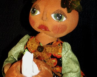Primitive Pumpkin Doll Kleenex Box Cover E Pattern