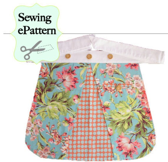 2- PDF Sewing Pattern, Women's Full/ Half Apron with Recipe Cards
