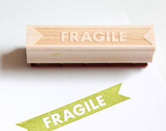 Fragile Rubber Stamp (Wood Mounted) Bold Modern Typographic Design with optional wooden handle (S403)