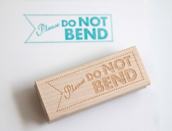 Do Not Bend Rubber Stamp (Wood Mounted) Original Modern Typographic Design with optional wooden handle (S401)