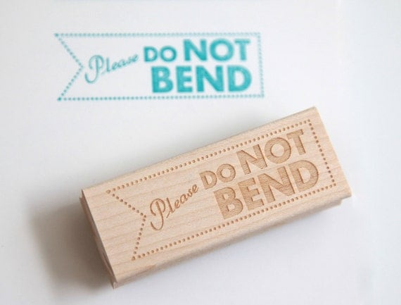 Do Not Bend Rubber Stamp (Wood Mounted) Original Modern Typographic Design with optional wooden handle (S401) DIY Packaging Shipping Stamp