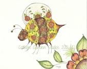 Bumble Bee Art, Henna Design, Children's Room Decor.