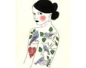 Fashion Illustration - SALE gift set of glorious girls -  5 X (4 X6 inch) Prints