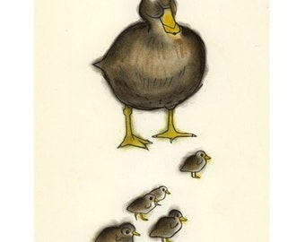 Duck art bird art  Mumma Duck-  4 X 6 print - 4 for 3 SALE
