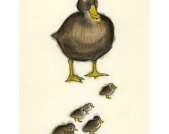Duck art bird art  Mumma Duck-  4 X 6 print - 4 for 3 SALE