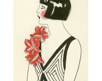Art Deco Art -  4 for 3 SALE Red Corsage  - 4 X 6 print