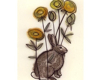 Bunny Rabbit Artwork Rabbit drawing Bunny Rabbit art print.  Brown rabbit in dandelion -  (4 X 6 print) - 4 for 3 SALE