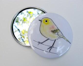Yellow bird drawing (reproduction) Pocket Mirror - Stefan