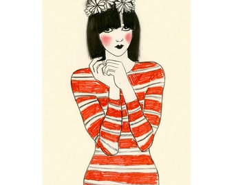 Fashion Art Illustration  Fashion Wall Art Fashion Print Fashion Art Decor - 4 for 3 SALE - Cleo - drawing (4 X 6 print)