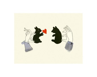 Bear art print.  4 for 3 SALE  Shadows - 6 X 4 print