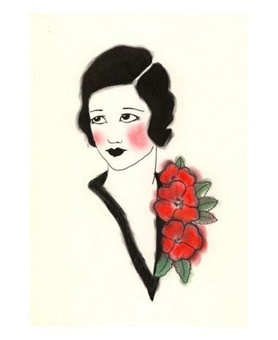 Art Deco art print -  Joan - 4 X 6 - 4 for 3 SALE