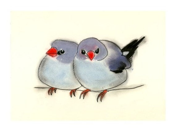 "Blue Bird art - Two Friends  6"" X 4"" bird print of water-colour painting - 4 for 3 SALE"