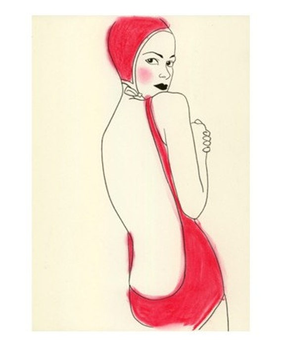Fashion illustration fashion print 4 for 3 SALE Hot Pink Bathing Beauty  - 8.3 X 11.5 print