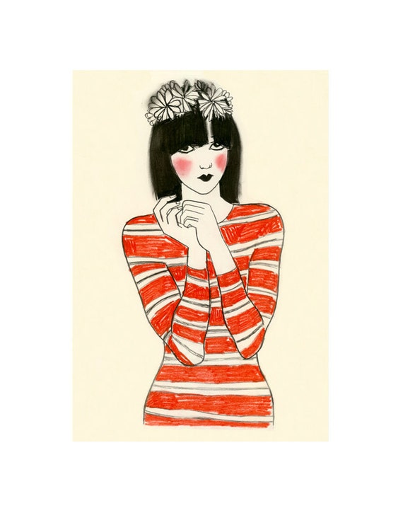 Fashion Art Illustration  Fashion Wall Art Fashion Print Fashion Art Decor - 4 for 3 SALE - Cleo - drawing (4 X 6 print)