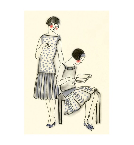 Art Deco fashion drawing   Art Deco Afternoons - 4 X 6  print