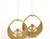 Gold earrings - egyptian - tribal - isis jewelry