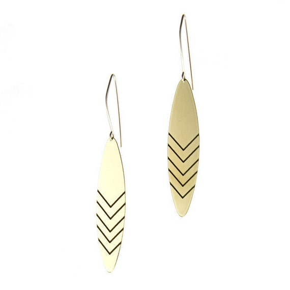 Chevron Etched Earrings - gold - modern - dangle