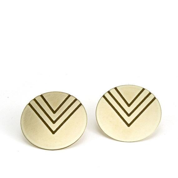 Chevron Stud earrings - triple v - geometric jewelry