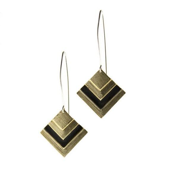 Black and gold diamond earrings - geometric jewelry - oxidized