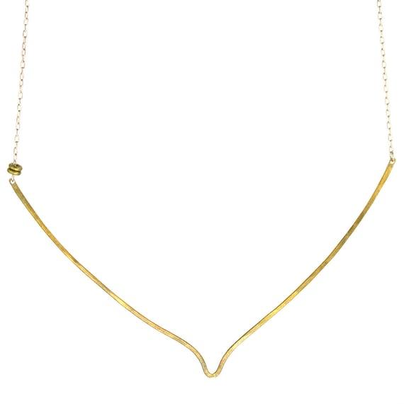 Gold V bar necklace - organic shapes - mixed metal