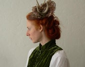 Autumn Stag  headdress of antlers, leather and vintage lace. - Ready to ship