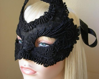 My Black Heart - Black silk Lace Mask
