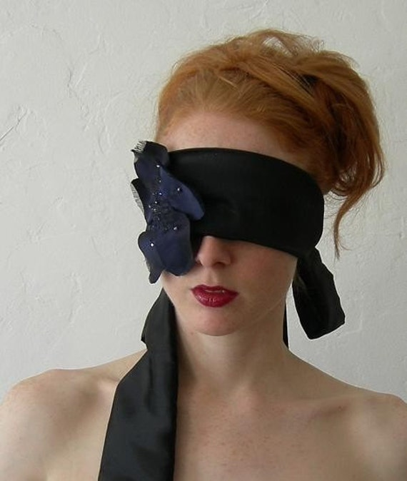 Black and Blue Silk Embroidered Flower Blindfold - To order