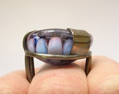 Glass cocktail ring-a collaboration silver flame work glass blowing implosion