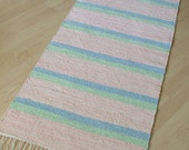 Sale: COTTON CANDY -- Peach handwoven rug with green and blue stripes