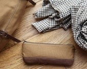 Pencil Pouch in Cinnamon Brown Cotton Canvas and Leather // Zipper Case