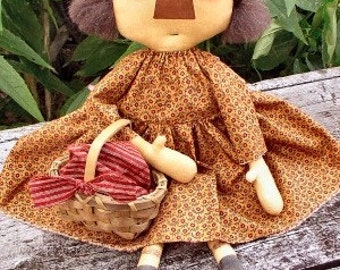 Frannie Lou EPATTERN - primitive country cloth doll craft digital dowload sewing pattern - PDF - 1.99
